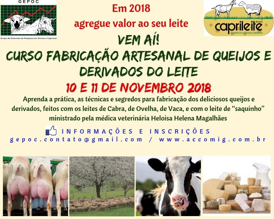 CURSO DE FABRICAÇÃOARTESANAL DE QUEIJOS EDERIVADOS DO LEITE 10 e 11/11/2018