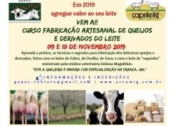 CURSO FABRICAÇÃO ARTESANAL DE QUEIJOS E DERIVADOS DOS LEITES DE CABRA,OVELHA E VACA 09 e 10 DE NOVEMBRO DE 2019