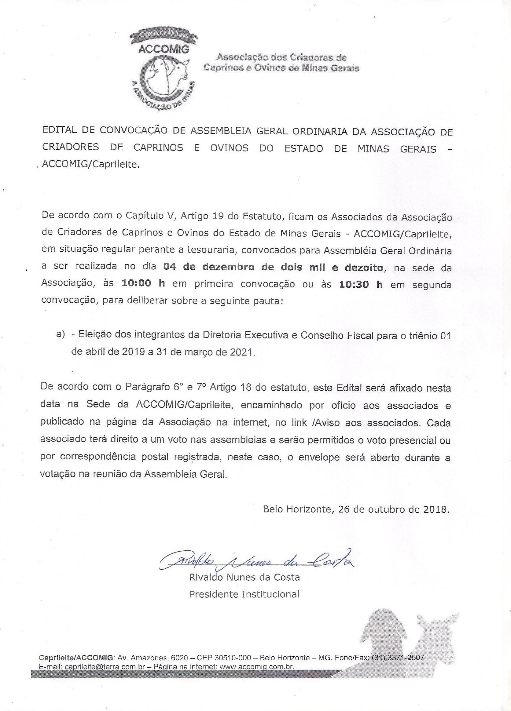 EDITAL CONVOCAÇÃO ASSEMBLÉIA GERAL ORDINÁRIA ACCOMIG_ELEIÇÃO DIRETORIA