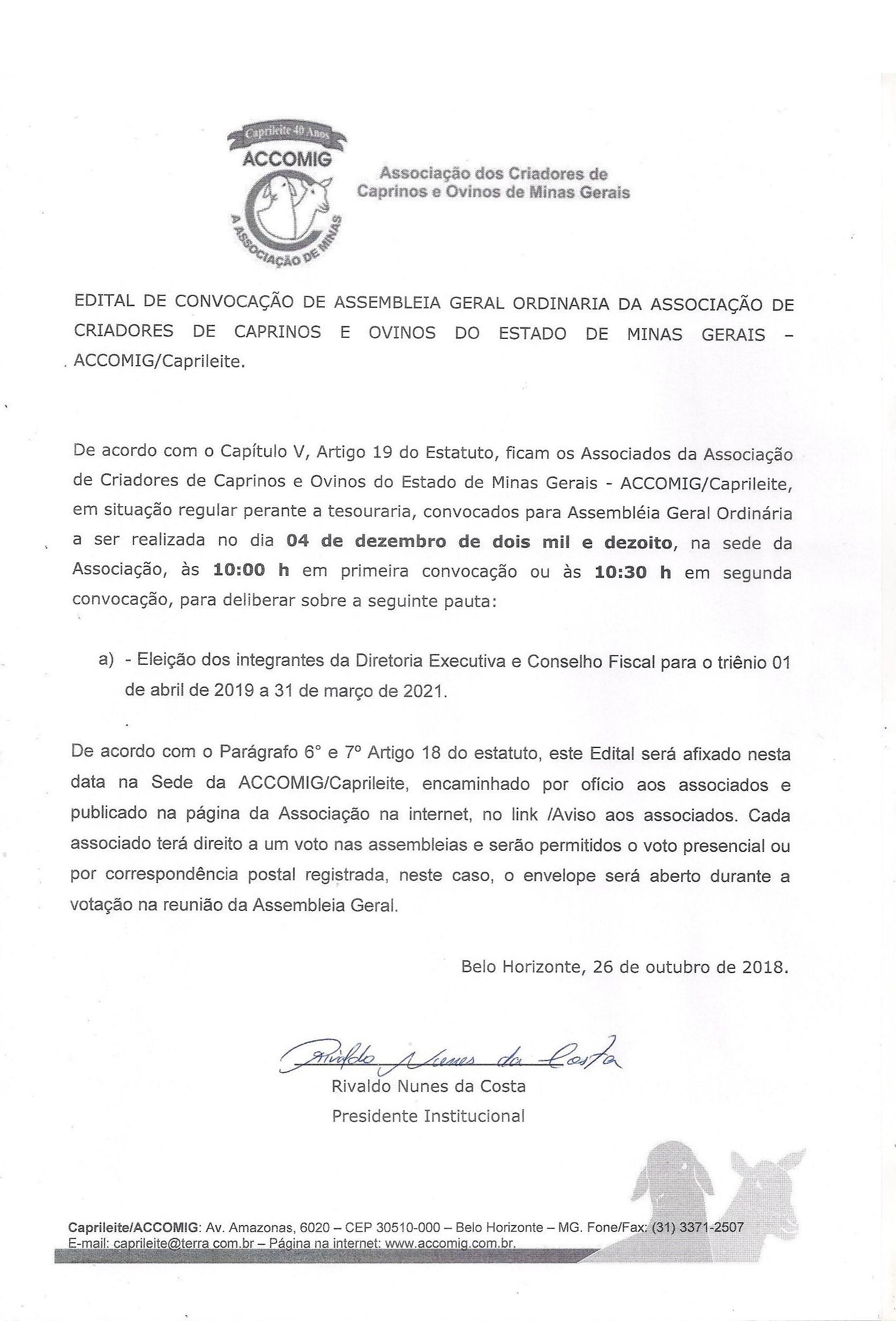 EDITAL CONVOCAÇÃO ASSEMBLEIA GERAL ORDINARIA NOVA DIRETORIA TRIENIO 2019-2021