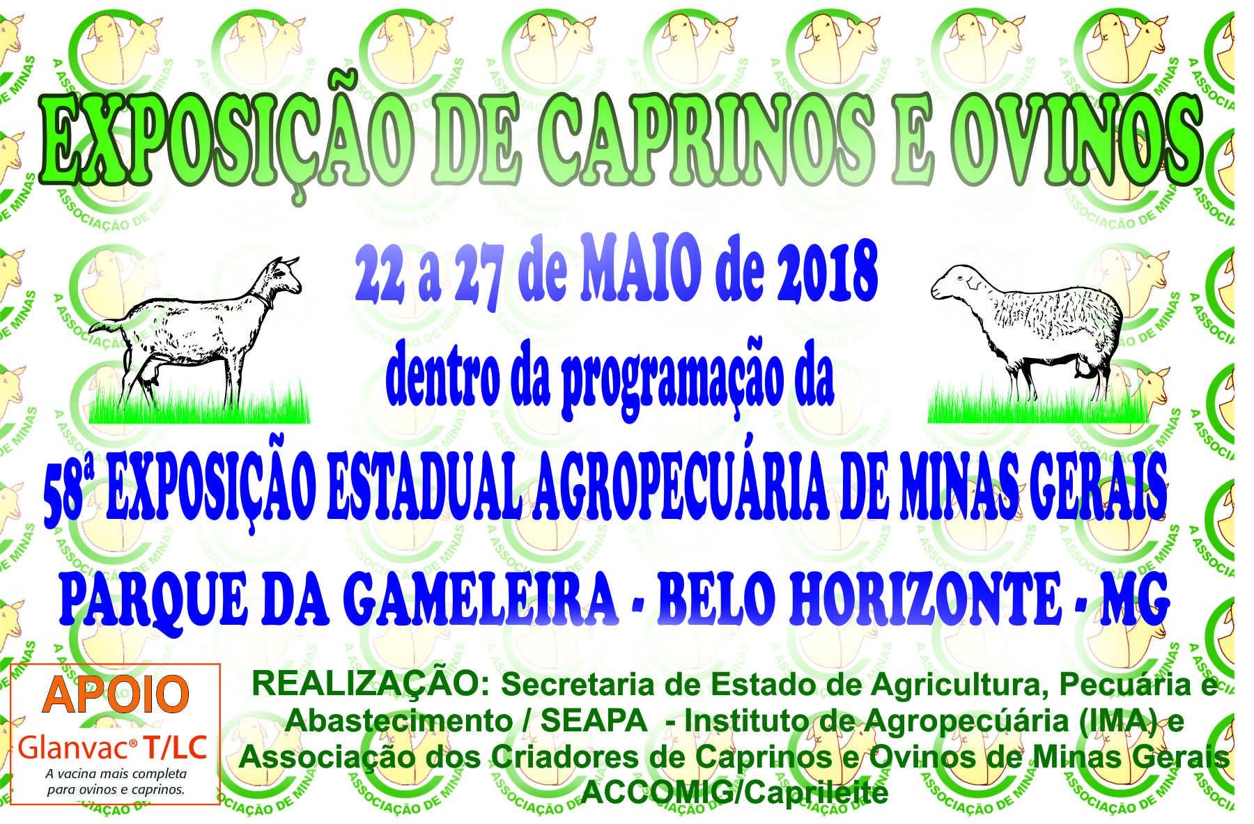 EXPOSIÇÃO DE CAPRINOS E OVINOS 22 a 27/05/2018 PARTICIPE!