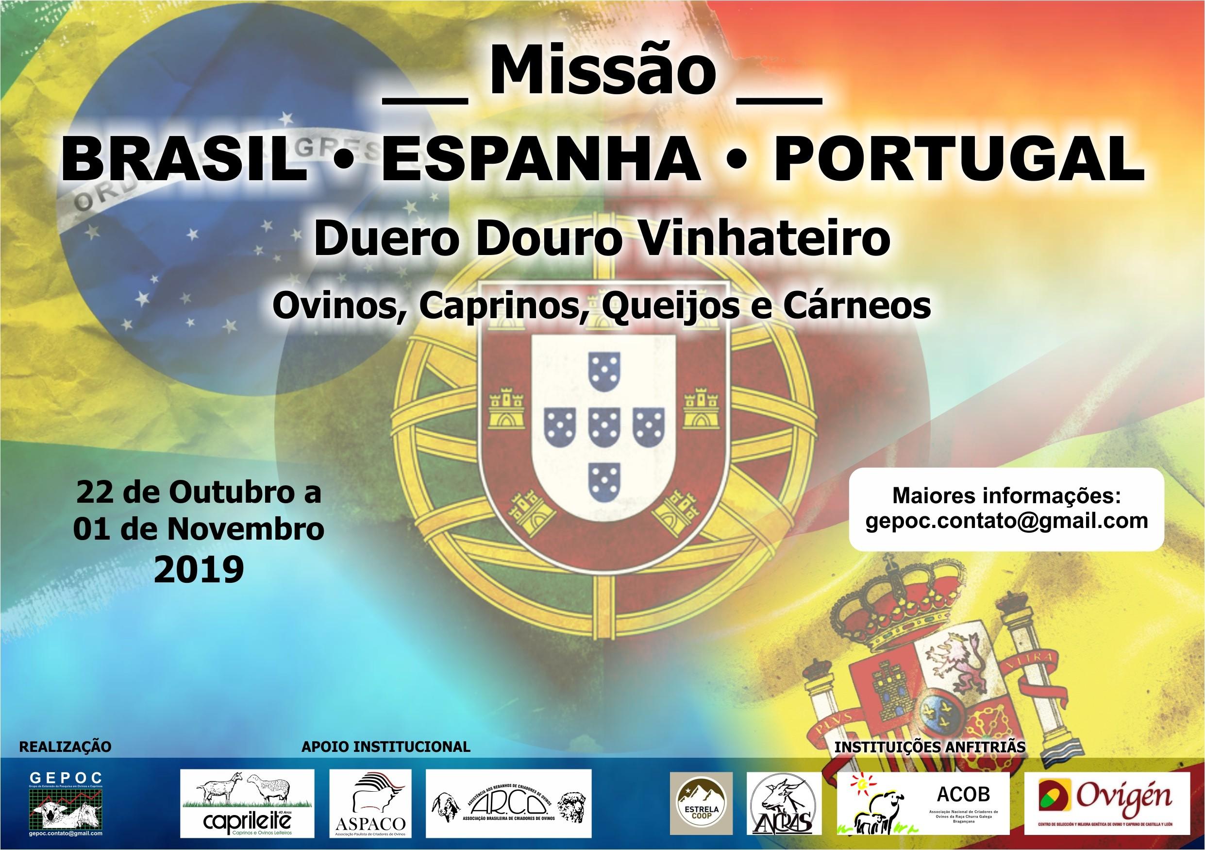 MISSÃO BRASIL –ESPANHA –PORTUGAL 22/10 a 01/112019