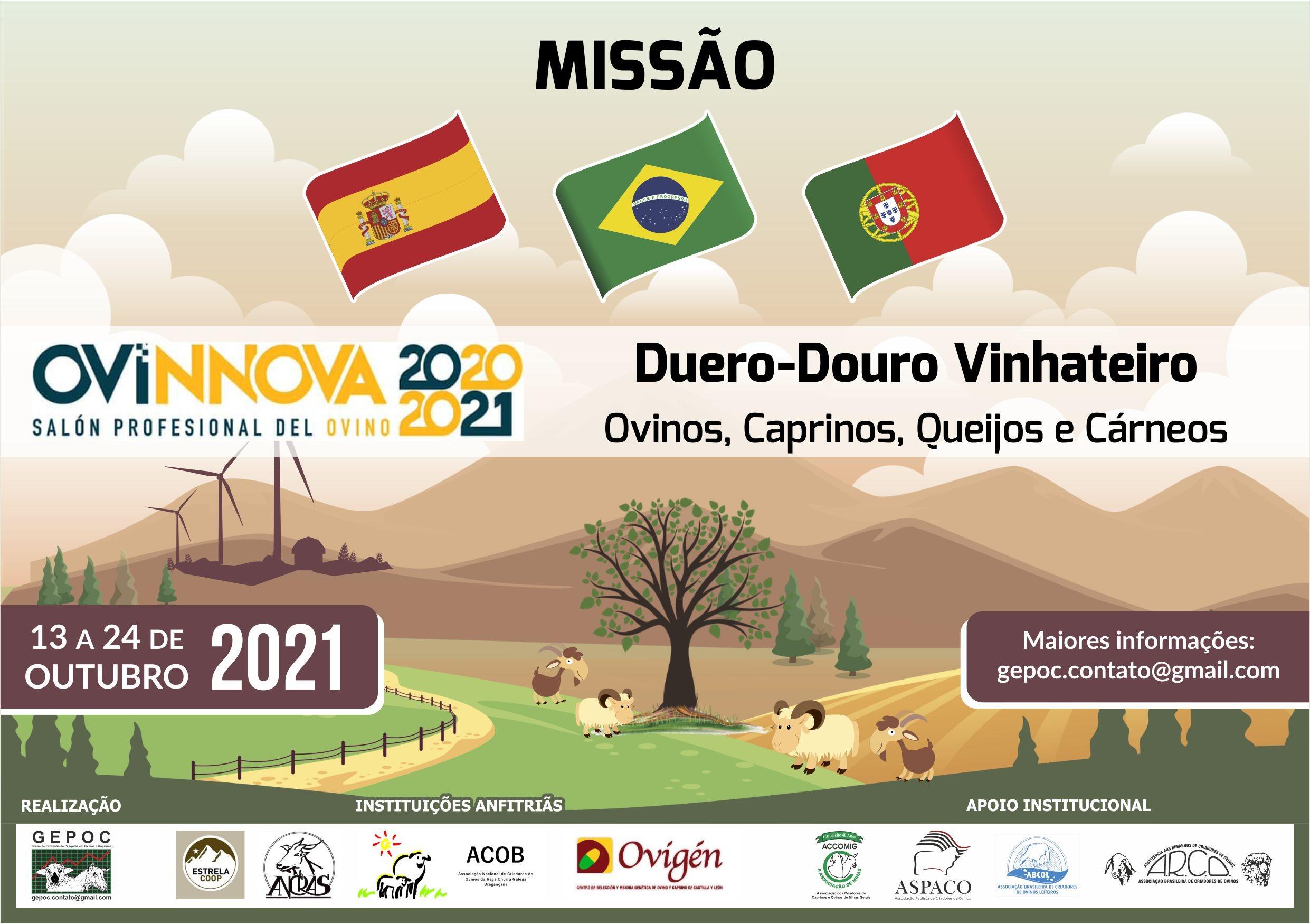 MISSÃO BRASIL-ESPANHA-PORTUGAL OvinosCaprinosQueijos e Cárneos com Feira OVINNOVA Espanha13 a 24/10/2021