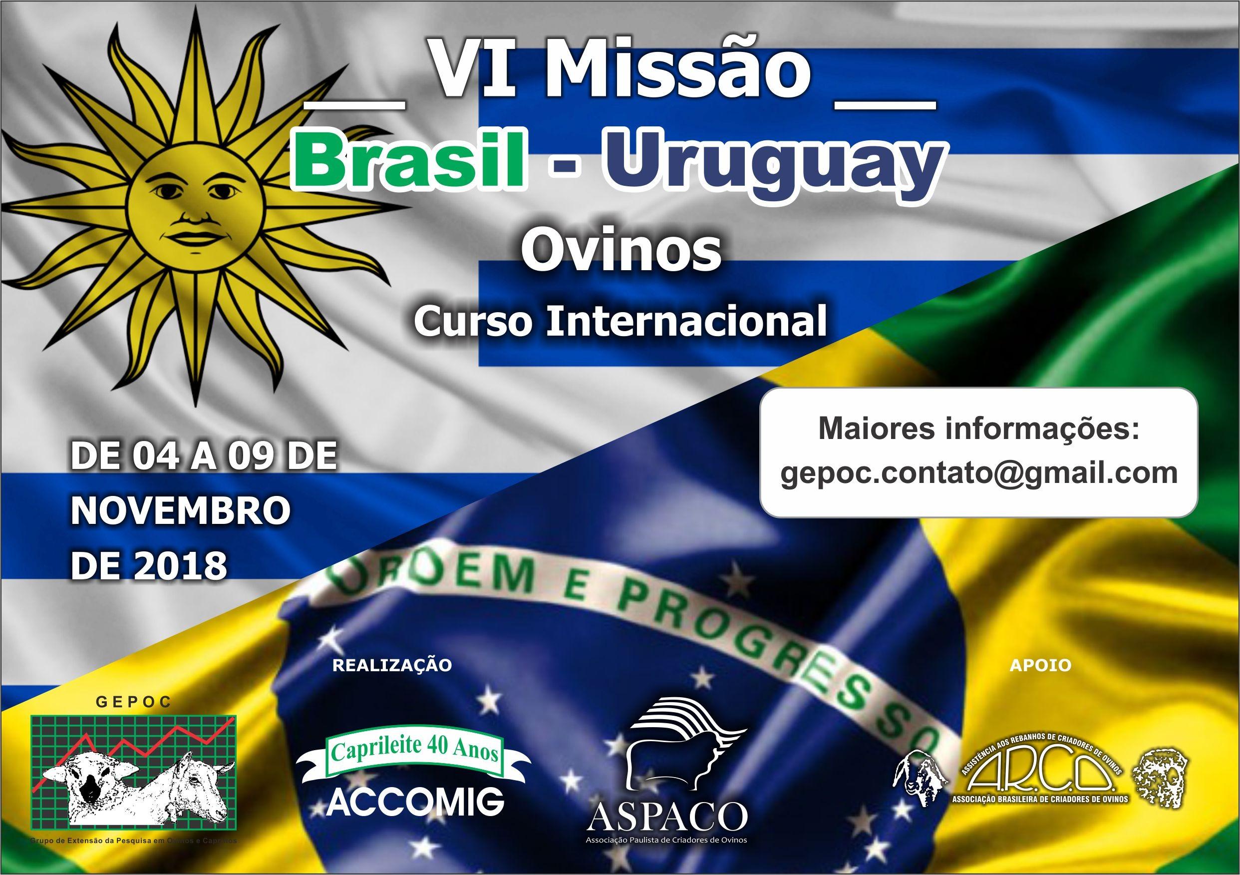 MISSÃO BRASIL &ndashURUGUAY OvinosCarne e L&atildecom Leite &ndashPrograma Cordero Pesado de 04 a 09/11/2018